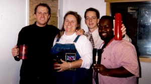 1999 or 2000, Clay with Jerry's former co-host, the late Sheila Richards, Jerry and co-worker Chris Wallace.